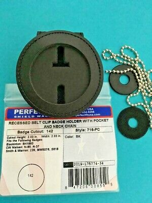 """Perfect Fit Recessed Belt clip badge holder / pocket and chain, round 2"""" in dai"""