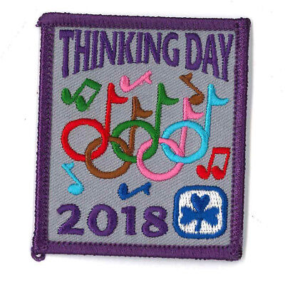"""Girl Guide Scout Brownie BADGE PATCH CREST ~ Thinking Day 2018 - 2.5"""" rare"""