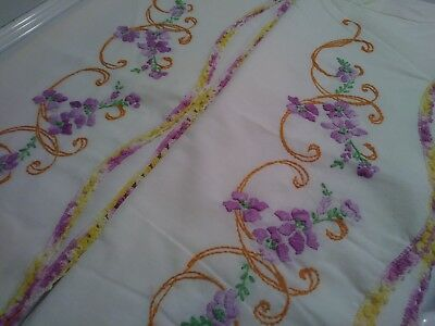 Pair of Vintage Hand Embroidered Pillowcases Floral Garland Purple and Gold