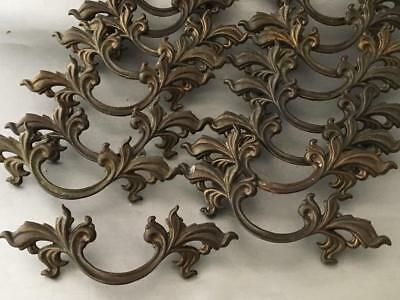 Shabby Vtg Chic Lot Bronze Cast Brass French Provincial Pull Handle Hardware Set