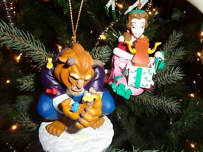 Lot 2 Disney Beauty And The Beast Collectable Holiday Ornaments Resin New In Box