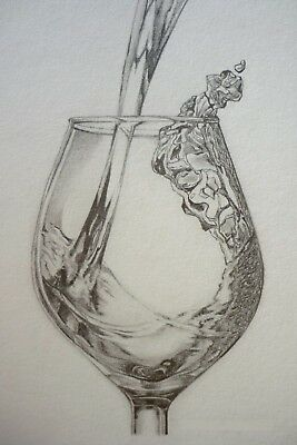Original Pencil Drawing A4 Glass Wine