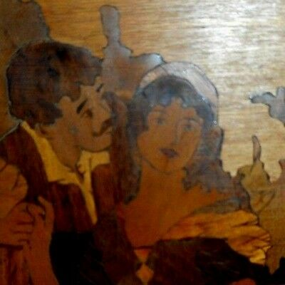 Antique hand made marquetry picture or panel