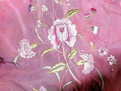 Antique vintage embroidered pink silk bed cover