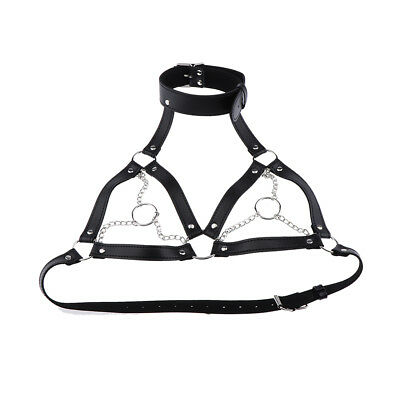 Sexy Womens Black Leather Cage Bra Body Harness Straps Cosplay Lingerie