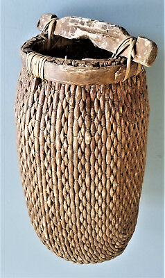 Antique Chinese Woven Fiber Water/Rice Basket, Wood Handle