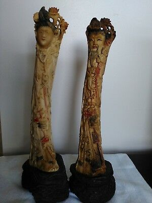 """Good Fortune- Wedding Couple, Chinese, Hand-carved, 12"""" (Bovine) UNIQUE, Special"""