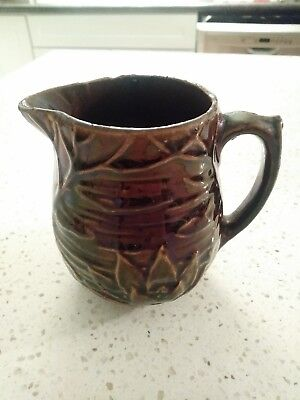 McCoy Pottery Brown Glaze Lotus Water Lily Small Jug Pitcher 124