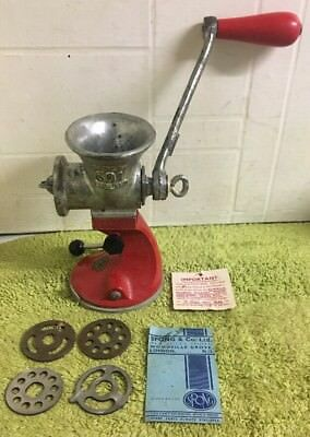 Vintage Spong 601 Red Hand Mincer with 4 discs