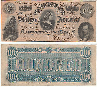 1864 $100 T-65 Lucy Pickens Confederate Currency Very Fine