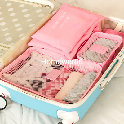 6Pcs Set Cube Luggage Organizer Travel Storage Bags Waterproof Clothes Packing