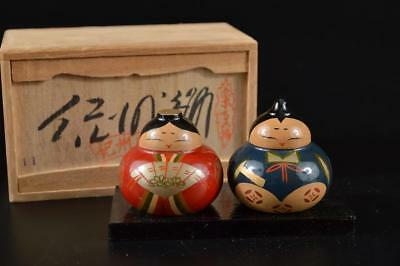 G793: Japanese Wooden Lacquer ware Hina doll-shaped ORNAMENTS w/signed box