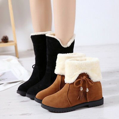 56abb2f8840d Winter Women s Suede Snow Boots Fur Thicken Mid Two Wearing Warm Ankle Shoes