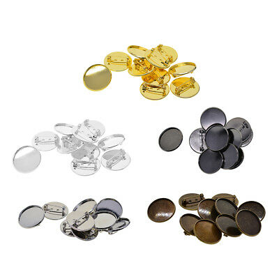 10Pcs Brooch Pin Back Base 25mm Round Cabochon Setting Tray with Safety Pins