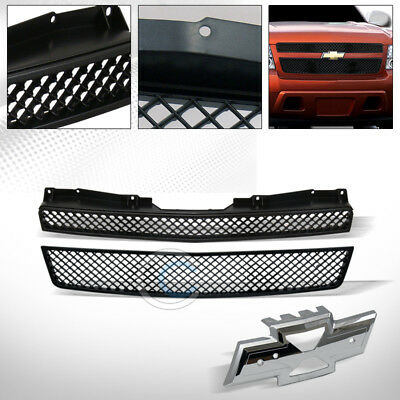 Black Mesh Front Hood Bumper Grill Grille Abs 2Pc 07-14 Tahoe/suburban/avalanche