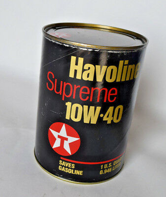 Vintage Havoline Supreme 10-40W Cardboard Oil Can, almost full small seep