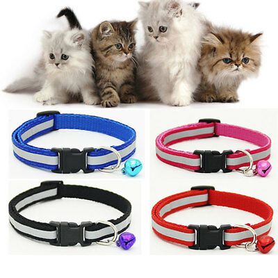 Pet Puppy Cat Kitten Soft Glossy Reflective Collar Safety Buckle & Bell Chihuahu