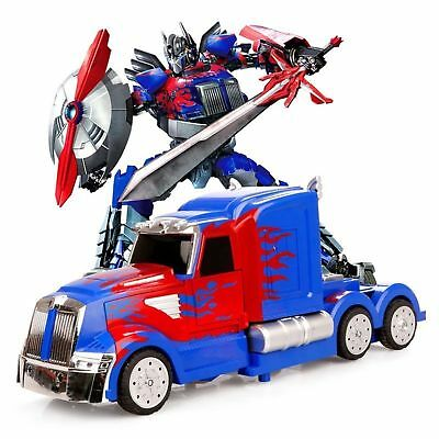 NEW Transformers Optimus Prime Truck Light Up Bump & Go Car LED Toy Action Sound