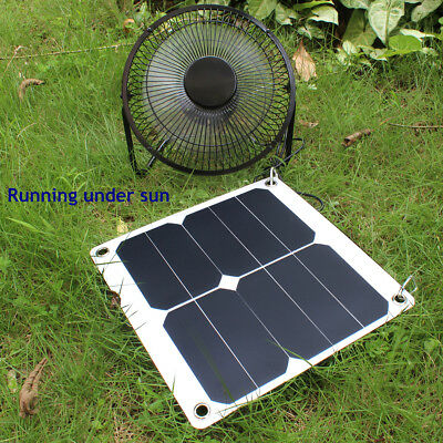 10W Solar Panel Power Fan USB Ventilator for Dog House Camping Barbecue