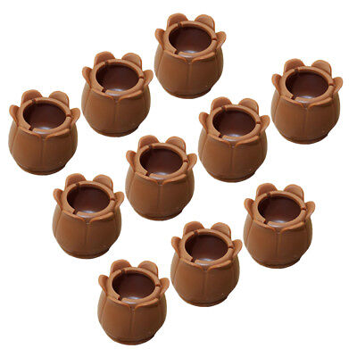 10x Round Brown Chair Leg Tip Caps Floor Protectors Furniture Pads 22-28mm