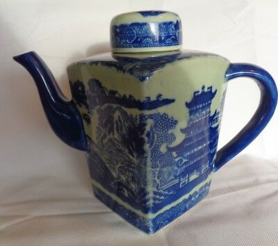 Large Oriental Teapot Hand Painted Blue and White Square Vintage Pottery