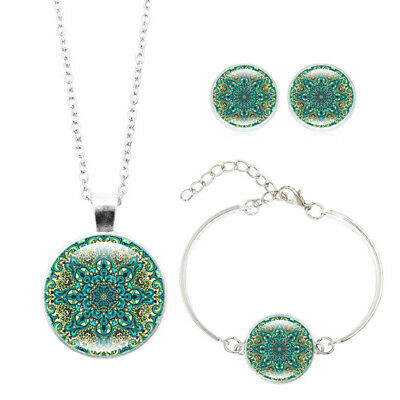 3PCS Mandala Flower Pendant Glass Cabochons Necklace Bracelet Earring Set MH