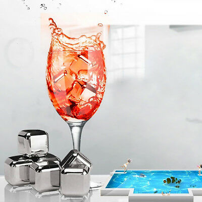 Stainless Steel Ice Cubes Metal Stones Cocktail Whisky Reusable Rocks - Set of 8