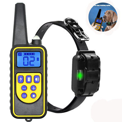 Dog Shock Training Collar Rechargeable Remote Control Waterproof IP6X 875 Yards