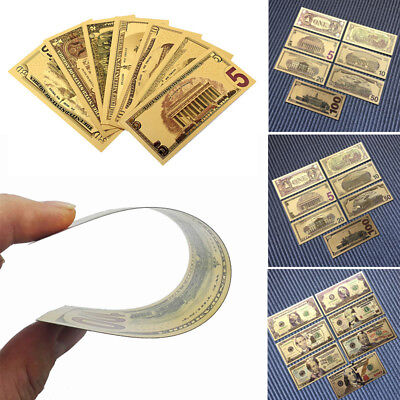 7pcs/Set Paper Money USA Dollars Collection Banknotes Gold Foil Bill Art Craft