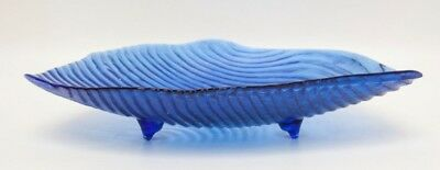 Vintage Cobalt Blue Glass Footed Candy Dish Ribbed Pattern Textured Bowl Art Gla