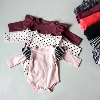 US STOCK Newborn Baby Girl Long Sleeve Romper Bodysuit Jumpsuit Outfits Clothes