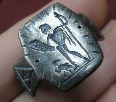 Ancient Roman Senatorial Legionary Silver ring Inscribed God NEPTUNE Leg XXX VV