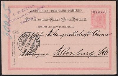 Austria 1898 Upu Post Card From Smyrna To Altenburg Germany