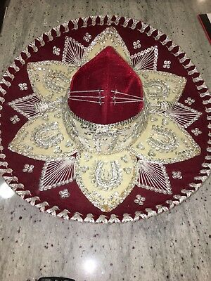Authentic Mexican Mariachi-Sombrero Hat. Handmade In Cozumel, Mexico.