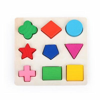 Wooden Geometry Blocks Shape Color Recognition Early Kids Educational Toy 2N