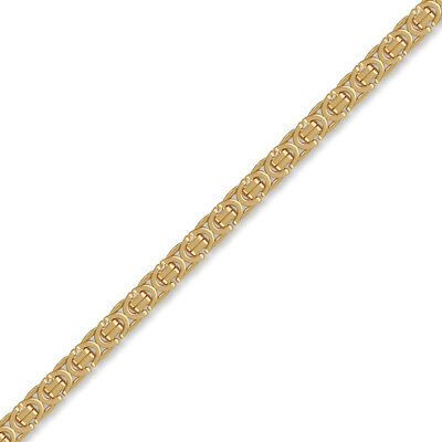 Jewelco London 9ct Gold Flat Byzantine 5.7mm Chain Necklace