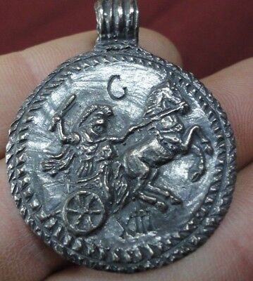 Ancient Roman Senatorial Silver Pendant inscribed Legionary warrior CAVALRY