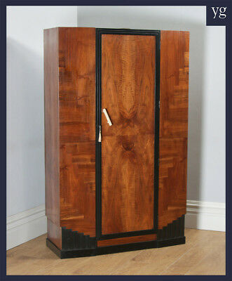 Antique English Art Deco Figured Walnut & Ebony Bedroom Compact Wardrobe Armoire