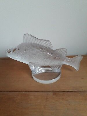 Lalique Fish Crystal Perch Paperweight/Car Mascot on base 'LALIQUE FRANCE' A/F