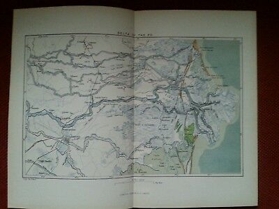 1878 Map of The Delta of the River Po Italy Antique Adriatic Sea