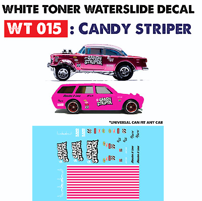 WT015 White Toner Waterslide Decal > CANDY STRIPER > For Custom 1:64 Hot Wheels