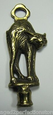 Old Brass SCAREDY CAT KRAZY KAT HUNCHBACK KITTY Finial Figural Hardware Element