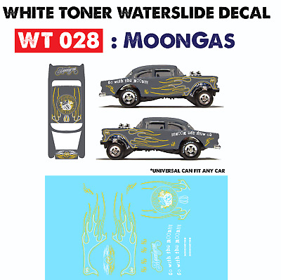 WT028 White Toner Waterslide Decal > MoonGas > For Custom 1:64 Hot Wheels