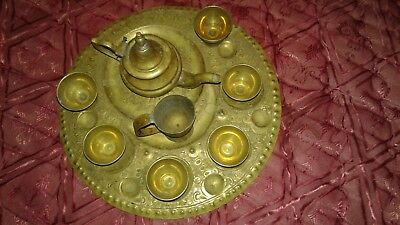 Rare! ANTIQUE ART antique copper Ancient Arabic tray with cups