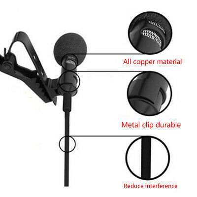 Clip-on Lapel Mini Lavalier Mic Microphone For iPhone SmartPhone Recording Best