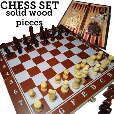 Brand New Hand Crafted draughts 64 Wooden Chess Set 28cm x 28cm backgammon