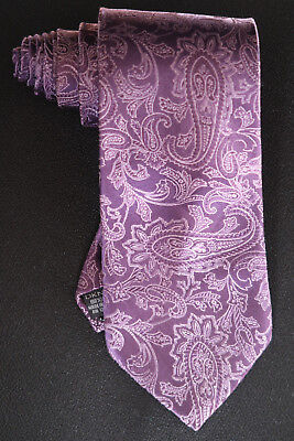 Dkny Woven Silk Tie Purple & Lilac Jumbo Paisley A Wedding Stunner In Nm-Cond