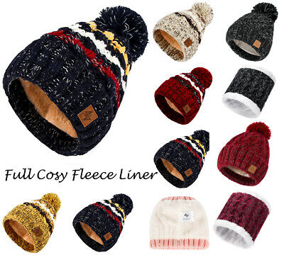 Mens Womens Cable Knitted Bobble Hat Beanie Women Warm Winter Fleece Lining Ski