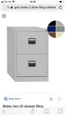 GREY Bisley Metal Filing Cabinet 2 Drawer A4 672 x 413 x 400mm