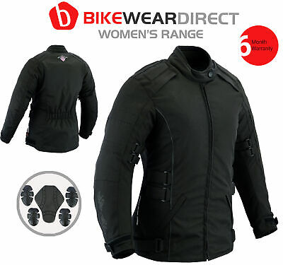 Texpeed Womens Black Waterproof Motorcycle / Motorbike Armoured Jacket